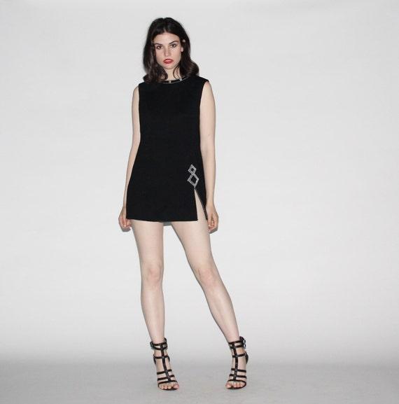 Vintage 60s Mod Black St. John Dress - Vintage St. John Designer Dress - Black Mod Ethnic Dress - WD0355