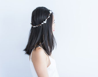 "bridal white rose floral circlet // ivory bridal flower crown headband, classic, garden wedding, whimsical, forest bride - ""Teodina"""