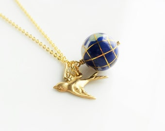 World globe necklace - small gemstone Earth bead and traveling brass bird on delicate gold plated chain - You're Not So Far Away Love