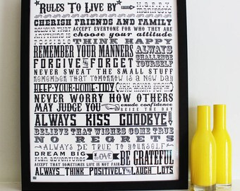 Rules To Live By Screen Print - graduation gift, housewarming, house rules, inspirational print, rules for life, black and white art, words.