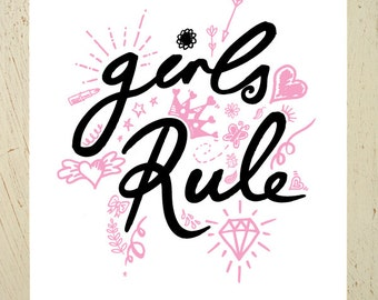 Kids wall art - Girls Rule - black and pink type print. Perfect for a girls nursery. Sketches of hearts, crown, lipstick, diamond, stars...