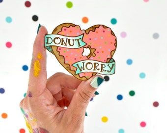 hand painted laser wood cut brooch / donut worry / pink sprinkle donut pin flair