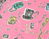 1/2 YARD, Flannel Pink Classic Telephones Print, Quilting or Craft Cotton Fabric, B13