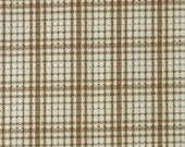 Brown White Plaid, 1980s Vintage, Wide Double Knit Fabric, Medium Weight Polyester, half yard, B31