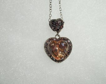 Sterling Silver Golden CZ Heart Necklace