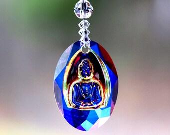 m/w Swarovski® crystal BLUE BUDDHA - AB Suncatcher Pendant with Buddhist Flag Colors Beaded Strand Car Charm Ornament, Pearl Place N More