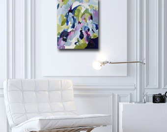 Original Abstract Expressionist Painting Canvas, Acrylic Painting, Modern Abstract Wall Art, Expressive Artwork, Purple, Green, Lavender