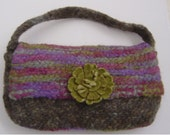 Felted Wool Bag Vintage Style with Handle