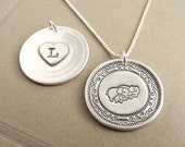 Personalized Elephant Family Necklace, Heart Monogram, Mom Dad Baby,Two Moms, Two Dads, Fine Silver, Sterling Silver Chain, Made To Order