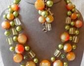 1950's Cat's Eye Marble Green & Orange Necklace and Bracelet Set