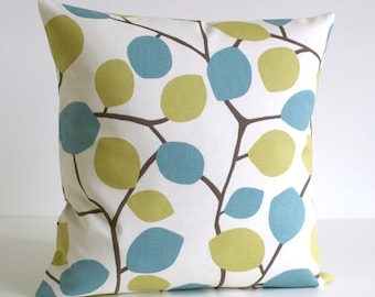 18x18 Pillow Cover, Cushion Cover, 18 Inch Pillowcase, Toss Pillow Cover, Decorative Pillow Cover, Pillow Covers - Nordic Leaves Pistachio