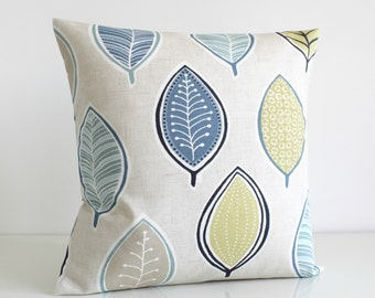 """18x18 Pillow Cover, Accent Pillow, Cushion Cover, 18 Inch Pillow Cover, 18"""" Pillow Cover, Throw Pillows, Pillow Sham - Modern Leaves Blue"""