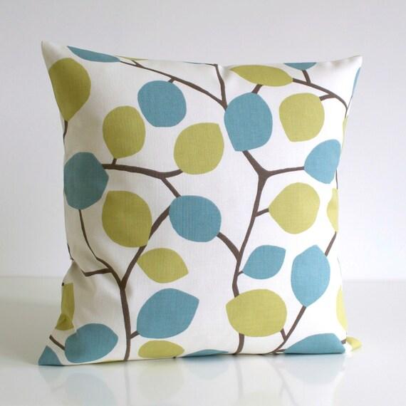 Pillow Cover, 16x16 Cushion Cover, cotton pillow, 16 Inch Pillow Case, Toss Pillow Cover, Decorative Pillow Cover - Nordic Leaves Pistachio