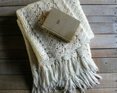 Vintage Handmade Cream Throw with Fringe / Baby Blanket