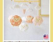 Baby Mobile, Lamb Baby Mobile, Sheep Mobile, Baby Shower Gift, Nursery Decor, Sleepy Sheep Farm, Felt Mobile, Coral Pink White