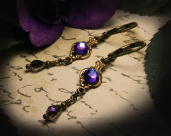 Purple Blue Crystal Victorian Earrings, Heliotrope Mauve Edwardian Bridal Dangle Drops, Antiqued Brass Filigree, Titanic Temptations 15020