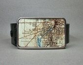 Vintage Map Belt Buckle Akron Ohio Cool Gift for Men or Women