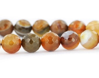 15 Agate Faceted Beads in Rich Earth Tones 10mm - BD654
