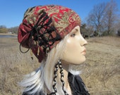 Bohemian Clothes Yoga Turban Beanie Hat Black / Red Paisly Floral Printed Cotton Knit Lightweight Summer Women's Hat A1599