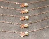 Reserved for Carly -- Bridesmaid Rose Gold Bracelets, Personalized Bridesmaid Bracelet, Rose Gold Bridesmaid Jewelry Set of 6