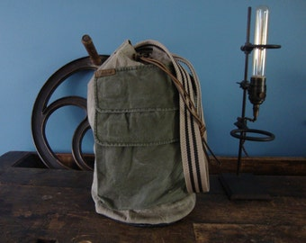 Shoulder bag repurposed from military duffle bag