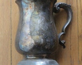 Antique 1800's Victorian Pewter Ornate Tankard Pub Mug Beer Stein marked UK