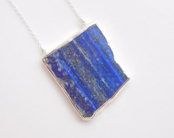 Lapis Lazuli Pendant Necklace in Silver - OOAK Jewelry