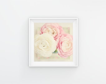 Pink Flower Photography, Ranunculus, Pink Floral Print, Shabby Chic Cottage, Pink and White Nursery, Flower Bouquet Art, Still Life Flowers