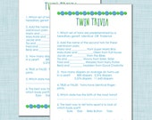 Twin Trivia Baby Shower Game for Boy Twins in Blue and Green
