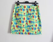 90s VERSACE JEANS COUTURE bright print, high waist mini skirt, size M/L