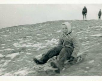 "Vintage Photo ""Snow is Optional"" Sled Boy Sledding Snapshot Photo Old Antique Black & White Photograph Found Paper Ephemera Vernacular - 161"