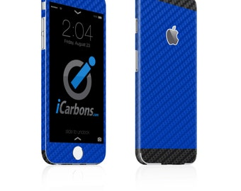 iCarbons 2 Tone Blue / Black Carbon Fiber iPhone 6 / 6 Plus / 6S / 6S Plus Skin Decal FULL COMBO