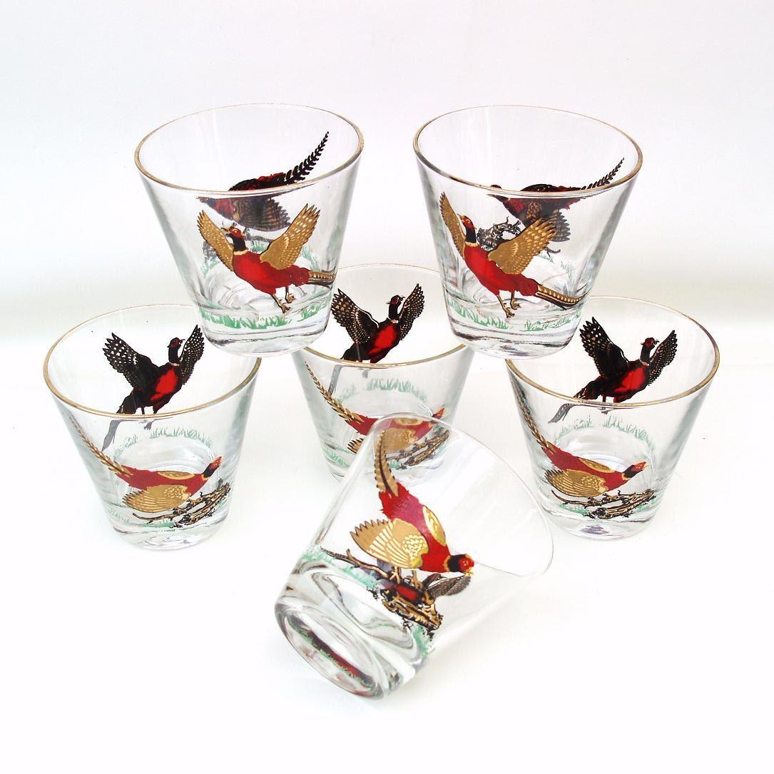 vintage bar glasses pheasant old fashioned barware cocktail