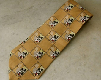 MICKEY MOUSE TIE Repeated Frames of Pensive Mickey Gold Beige Background 100% Polyester Made in Korea Prior to 1945 Division Vintage 1940's