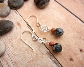 Red goldstone & obsidian earrings on hammered sterling silver spiral wire // gemstone jewelry