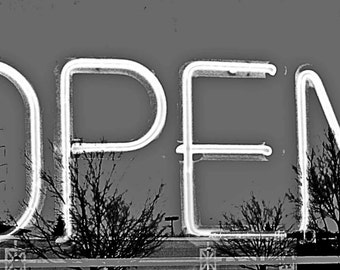 Open Sign, Instant Download Image, Black and White Photo with Tree Reflections, 5x7