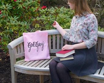 GIRL GANG Screen Printed 100% Cotton Tote Bag