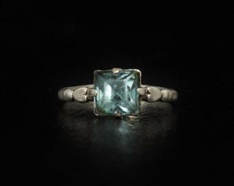 Kiddiegem Sterling Rhinestone Ring Blue Topaz Size 5