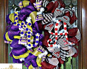 Deco Mesh LSU and Alabama House Divided Wreath