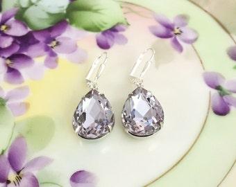 Lavender Earrings Pale Purple Dangle Earrings  Gift Idea Bridesmaid Jewelry Prom Statement Earrings