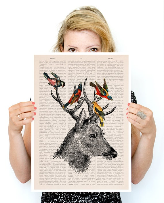 Deer with birds poster ,Eco friendly art,  deer art Wall art, Giclee poster, Animal art, poster print ANI040PA3
