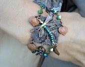 Crystal Dragonfly Bracelet with Swarovski Crystals Chunky BOHO Vintage Style Sparkling Statement Bracelet Copper Brass Bronze Handmade Wings