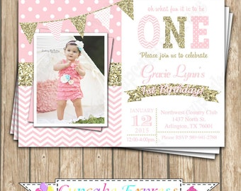 One First Birthday girl coral pink gold PRINTABLE Invitation #6 chevron polka dot glitter 1st birthday - 1030