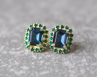 Navy Blue Emerald Cut Earrings Swarovski Crystal Studs Rectangle Rhinestone Wedding Vintage Emearld Green Bridesmaid Earrings Mashugana