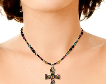 Michal Golan Large Patonce Floral Cross Necklace
