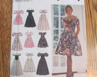 DESIGN Your Own Off the Shoulder Special Occasion Dress - Princess Seamed Gown - Size 12 - 14 - 16 - UNCUT Sewing Pattern Simplicity 8804