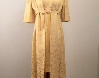 Vintage 1960's Buttercup Brocade Dress + Jacket Set