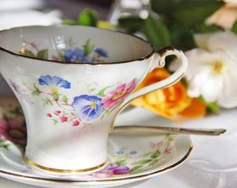 Elegant Aynsley Pink Rose, Multi Floral Corset Teacup and Saucer, England