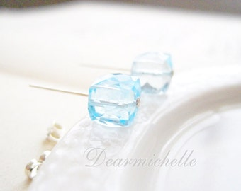 SALE - AAA Blue Topaz Post Earrings, Aquamarine Ear Stud, Sky Blue Topaz, Faceted Blue Topaz, Cube Ear Post, Sterling Silver, Christmas Gift