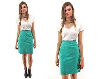 Minimalist 80s Leather Skirt, High-Waist Skirt, Pencil Leather Skirt, Green Leather Skirt, Fitted Skirt Δ size: md